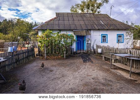 House in Kupovate settlement of so called Samosely - residents of Chernobyl Exclusion Zone Ukraine