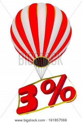 Three percent flies in a hot air balloon. Isolated. 3D Illustration