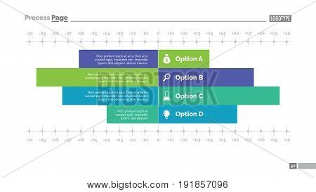 Four options bar chart slide template. Business data. Graph, diagram, design. Creative concept for infographic, templates, presentation, report. Can be used for topics like analysis, statistics, finance.