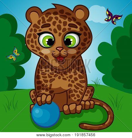 Hand Drawn Picture of a Cute Little Leopard with Blue Ball, Butterflies, Cartoon Hand Drawn Vector Illustration EPS