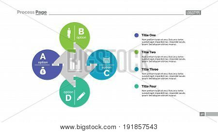 Four options process chart. Business data. Letter, diagram, design. Creative concept for infographic, templates, presentation, marketing. Can be used for topics like management, planning, teamwork.