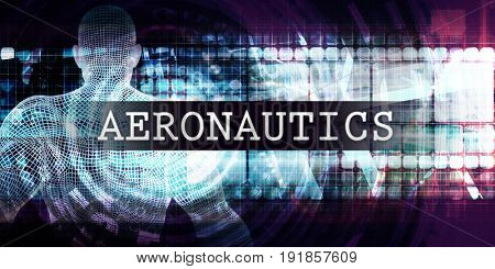 Aeronautics Industry with Futuristic Business Tech Background 3D Illustration Render