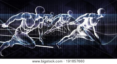 Running Business Men Chasing Success as Concept 3D Illustration Render