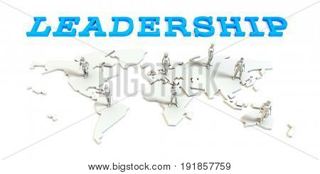 Leadership Global Business Abstract with People Standing on Map 3D Illustration Render
