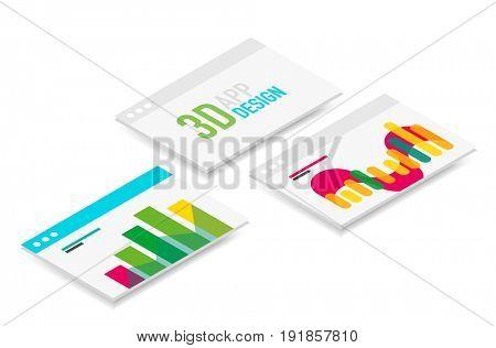 isometric 3d user interface design, semi flat app ui