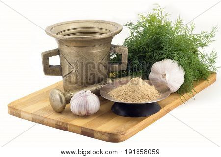 Composition Of Spices,ginger , Dill, Garlic, Vintage Spice Grinder Isolated On White Background