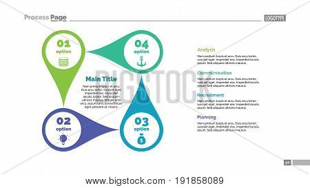 Four pointers process chart slide template. Business data. Point, diagram, design. Concept for infographic, presentation, marketing. Can be used for topics like management, strategy, teamwork.