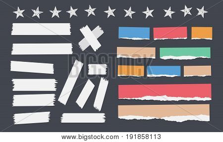 Colorful ripped notebook, copybook strips, sticky, adhesive tape stuck on black background with stars