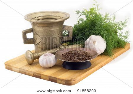 Composition Of Spices, Cumin, Dill, Garlic, Vintage Spice Grinder Isolated On White Background