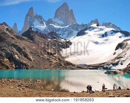 Mountain Landscape With Mt Fitz Roy And Laguna De Los Tres In Los Glaciares National Park, Patagonia