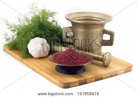 Composition Of Spices,beetroot Spice For Vegan Soups , Dill, Garlic, Vintage Spice Grinder Isolated