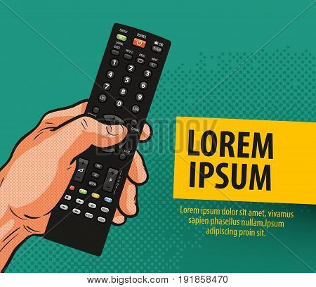 TV, television banner. Remote control vector illustration