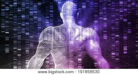 Scientific Research with DNA Genetic Sequence Concept 3D Illustration Render