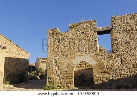 Castle Of Mirambel In The Maestrazgo, Castellon Province, Valencian Community, Spain