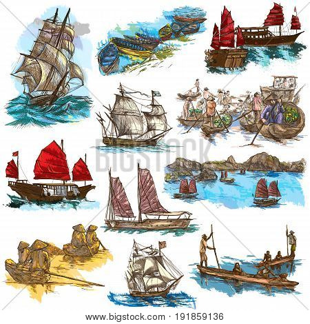 Boats and Ships around the World. Collection of an hand drawn colored illustrations. Description: Full sized hand drawn illustrations. Original freehand line art sketches on white background.