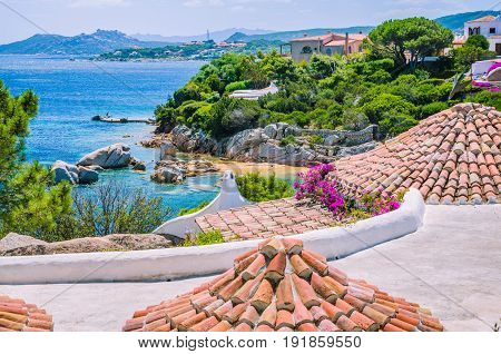 Roofs of mediterranean houses near Porto Rafael, Palau region, Sardinia, Italy.