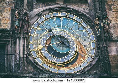 Detail of the astronomical clock in the Old Town Square in Prague, Czech Republic. Toned image.