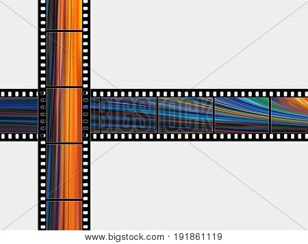 Color photographic films on a white background