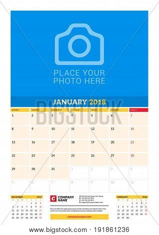 Vector Monthly Calendar Planner Template For 2018 Year. January. Vector Design Print Template With P