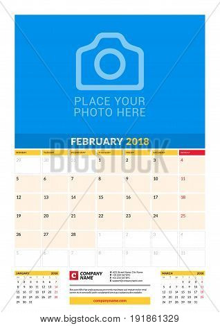 Vector Monthly Calendar Planner Template For 2018 Year. February. Vector Design Print Template With