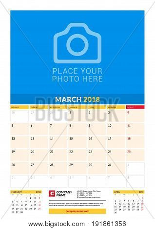 Vector Monthly Calendar Planner Template For 2018 Year. March. Vector Design Print Template With Pla