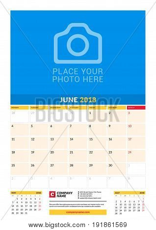 Vector Monthly Calendar Planner Template For 2018 Year. June. Vector Design Print Template With Plac