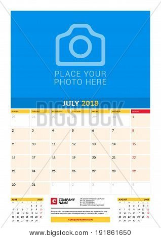 Vector Monthly Calendar Planner Template For 2018 Year. July. Vector Design Print Template With Plac