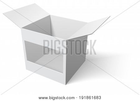 Open box with window on white background. Stock Vector illustration