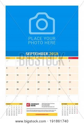 Vector Monthly Calendar Planner Template For 2018 Year. September. Vector Design Print Template With