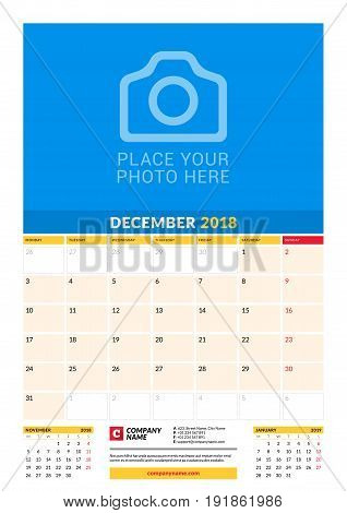 Vector Monthly Calendar Planner Template For 2018 Year. December. Vector Design Print Template With