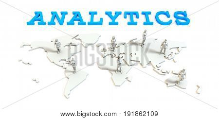 analytics Global Business Abstract with People Standing on Map 3D Illustration Render