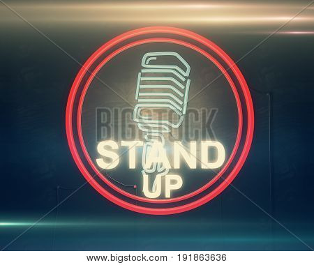 Close up of illuminated retro stand up microphone icon on dark background. Hilarious concept. 3D Rendering