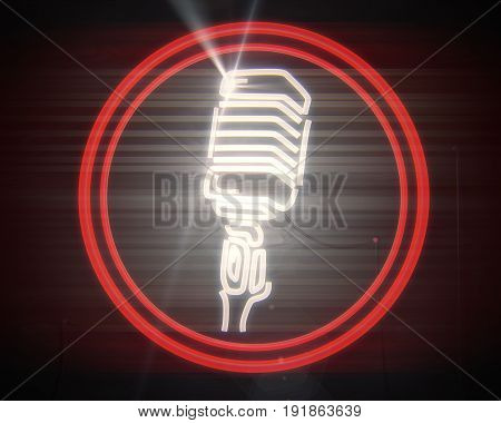 Close up of vintage illuminated microphone icon on wooden background. Radio concept. 3D Rendering