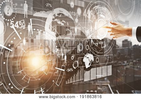 Hand pointing at abstract digital business screen on city background. Communication concept. 3D Rendering