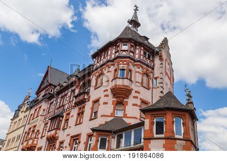 Historic house front in Traben on the Moselle.