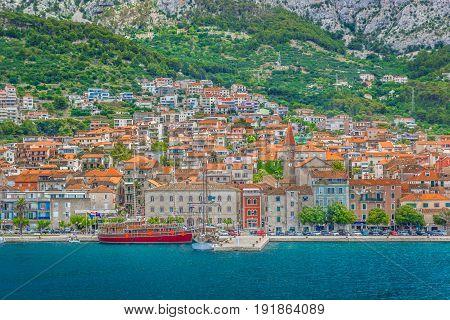 Waterfront view at coastal town Makarska, Croatia.