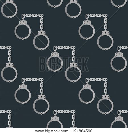 Old handcuffs seamless pattern guilt jail legal crime law arrest chain prison control handcuff background vector illustration. Control lock object and prisoner punishment.