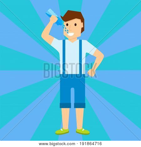 Happy boy child is smiling enjoying adopted life portrait of young male drink water character vector illustration. Cheerful kid casual emotion joy standing schoolboy expression.