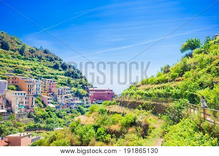 Scenic view of Manarola in Cinque Terre, Liguria, Italy
