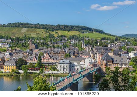Traben-Trarbach on the Moselle panorama summer picture