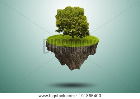 Single tree on floating island - 3d rendering