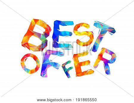 Best Offer. Vector Inscription