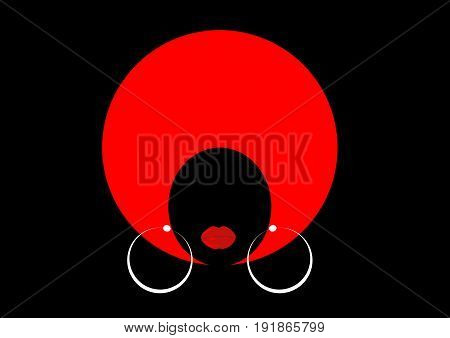 portrait African Women , dark skin female face with hair afro on isolated or black background
