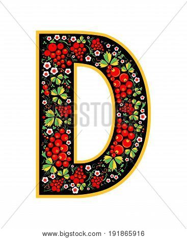 Letter D In The Russian Style. The Style Of Khokhloma On The Font. A Symbol In The Style Of A Russia