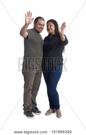 Couple Waving hand on a white background