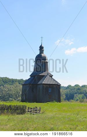 Old ukrainian wooden church in the village