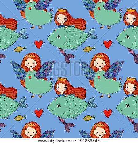 Pattern with girl Sirin and mermaid. Mythological bird. Russian folklore. Vector illustration.