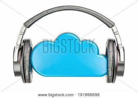 cloud storage with headphones music concept. 3D rendering isolated on white background