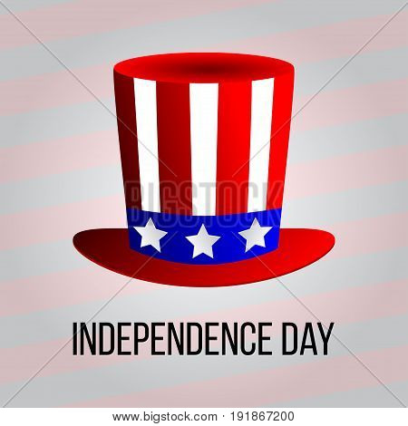 independence day 4 th july. Happy independence day uncle sam hat. Vector illustration