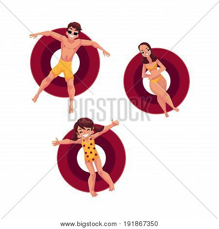 Caucasian woman, man and little girl floating on inflatable rings, top view cartoon vector illustration isolated on white background. Man, woman and girl swimming on inflatable rings